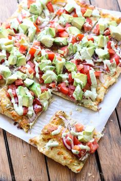 Skinny Avocado Pizza. Pinning more for the recipes of the two sauces on the pizza then anything else