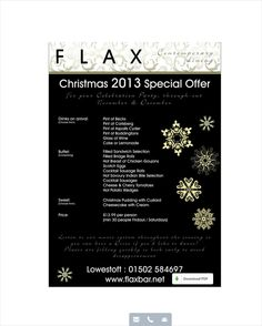 FLAX BAR LOWESTOFT CHRISTMAS MENu  - made with simplebooklet.com