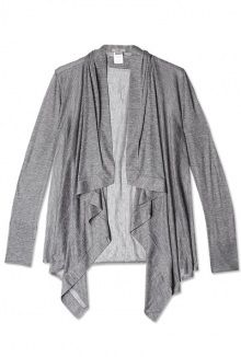 heather grey voltage rib draped front jersey jacket by HELMUT