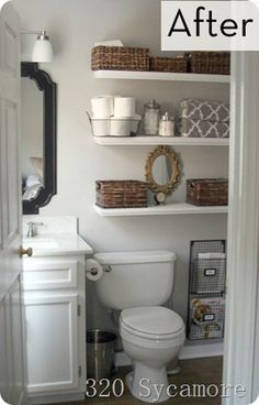 Shelves really revamp a boring small bathroom. I love this look! Really great way to organize but not make your bathroom feel even smaller. Under cabinet storage and baskets on the shelves are a great way to hide things you don't want openly displayed, too.