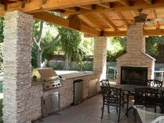 Firepits/outdoor fireplaces on Pinterest | Fire Pits, Fire ... on Covered Outdoor Kitchen With Fireplace id=97919