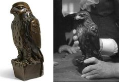 ICONIC MALTESE FALCON LEAD STATUETTE FROM THE 1941 FILM  Sold for $4,085,000  At the TCM / Bonham's Auction Nov 23,2013