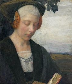 "Edgar Maxence (French, 1871-1954.) ""Femme de la Renaissance à la lecture / Woman of the Renaissance reading."""