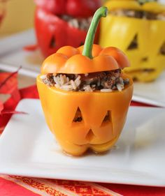 Halloween Stuffed Peppers - how cute would this be for dinner on Halloween (before all the candy).