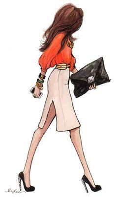 dressy blouse, pencil skirt, clutch, high heels
