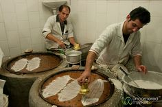 """""""Iranian men making Gol Reshte at the Rasht market. This is an Iranian dessert made from rice flour pancake filled with cinnamon, sugar and walnuts. We ate them raw, but you're supposed to fry them with honey or sugar water."""""""
