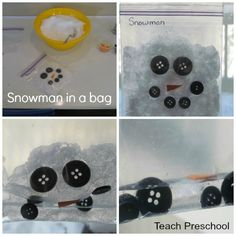 "Snowman in a Bag by Teach Preschool. I think the best part is the ""Snowman Science"" observation sheet where the kids draw a before and after picture. :)"