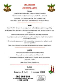 Pre christmass menu Ship Inn #pakefield #Lowestoft
