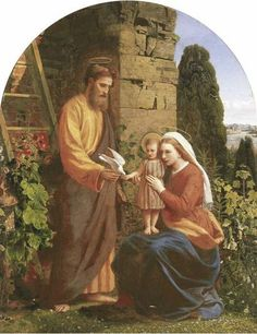 "James Collinson (9 May 1825 – 24 Jan 1881) was a Victorian painter who was a member of the Pre-Raphaelite Brotherhood from 1848 to 1850. Collinson was a devout Christian who was attracted to the devotional and high church aspects of Pre-Raphaelitism. A convert to Catholicism, Collinson reverted to high Anglicanism in order to marry Christina Rossetti, but his conscience forced his return to Catholicism and the break-up of the engagement. Painting here ""The Holy Family"" 1878"