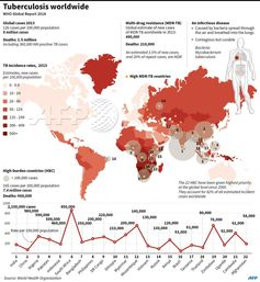 Tuberculosis WorldwideThis AFP infographic (sourced fromhttp://goo.gl/NECDLX) is a good summary with comprehensive Tuberculosis world distribution. Still 1.5 million people died of the curable disease in 2013.Usable information when you consider becoming PT - perpetual Traveler, medical infrastructure is critical factor to decide your destinations.#tuberculosis