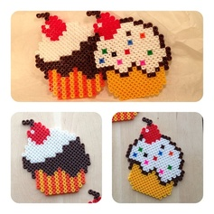 Yummy cupcakes coasters hama perler by LULLIES