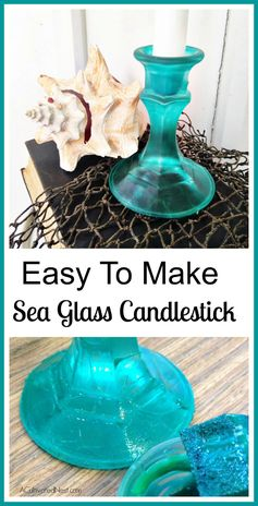 DIY Sea Glass Candlestick | A Cultivated Nest - Featured at the #HomeMattersParty 52