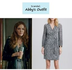 "On the blog: Abby Whelan's (Darby Stanchfield) printed wrap dress | Scandal - ""Icarus"" (Ep. 306) #tvstyle #tvfashion #outfits #fashion #gladiators"