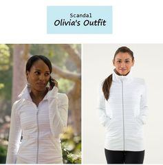 "On the blog: Olivia Pope's (Kerry Washington) white & grey striped workout jacket | ""Guess Who's Coming to Dinner"" (Ep. 302) #tvfashion #tvstyle #gladiators #falltv #fashion #outfits"