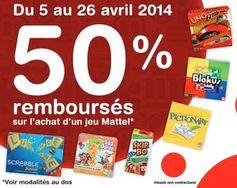 Votre jeu Mattel 50% remboursé ! ODR Avril 2014 - http://www.bons-plans-malins.com/votre-jeu-mattel-50-pourcent-rembourse-odr-avril-2014/ #JouetsJeux, #ODR