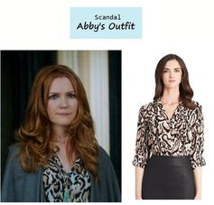 "On the blog: Abby Whelan's (Darby Stanchfield) animal print leopard blouse | ""Say Hello to My Little Friend"" (Ep. 304) #tvstyle #tvfashion #outfits #fashion"