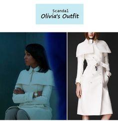 "On the blog: Olivia Pope's (Kerry Washington) white caped trench coat | ""It's Handled"" (Ep. 301) #tvfashion #tvstyle #gladiators #falltv #fashion #outfits"
