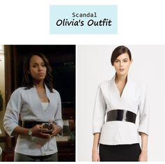 "On the blog: Olivia Pope's (Kerry Washington) kimono jacket with belt | ""Say Hello to My Little Friend"" (Ep. 304) #tvstyle #tvfashion #outfits #fashion"