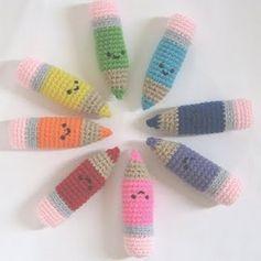 2000 Free Amigurumi Patterns: Free Crochet Pattern: Colored Pencils #free #crochet #pattern #pencil