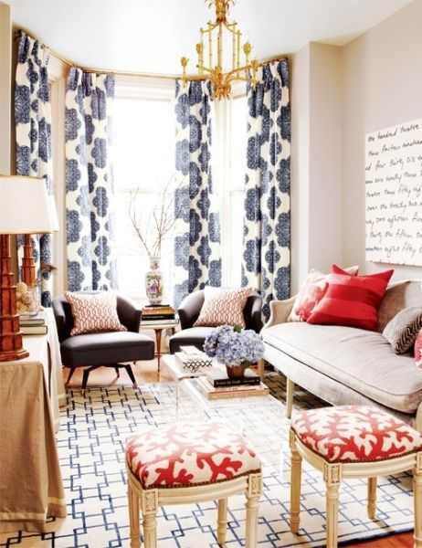 "Patterned Drapes to flank, Light Chiffon ones... for bedroom    If you are the one struggling with how to arrange a long, narrow living room, you may know it better as ""the bowling alley."" When we were looking at houses several years ago, we kept seeing these long, open spaces, and inevitab"