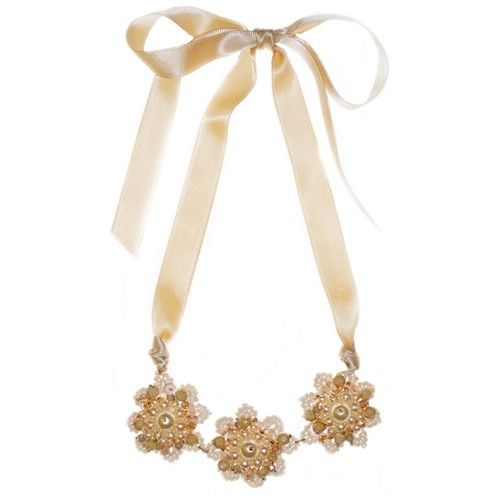 Beige flowers necklace by lilia