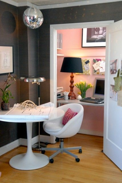 Great use of space for a small home...tuck an office into a closet and multi task the chair in the main space for both uses...and the fun color makes the closet/office a gem.