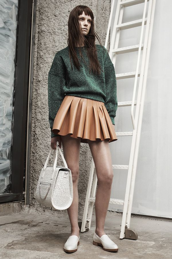 Alexander Wang Resort 2014 green sweater brown skirt white loafers bag