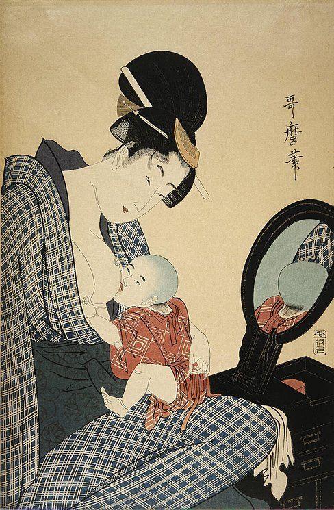 Kitagawa Utamaro (1754-1806)  #japanese #breastfeeding #art