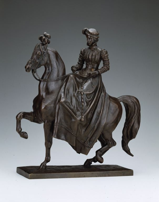 Antoine Louis Barye  French, 1795-1875    Equestrienne in Renaissance Dress, c. 1840