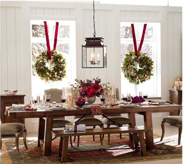 Hang Wreaths in Windows w/Ribbon and Tensions Rods