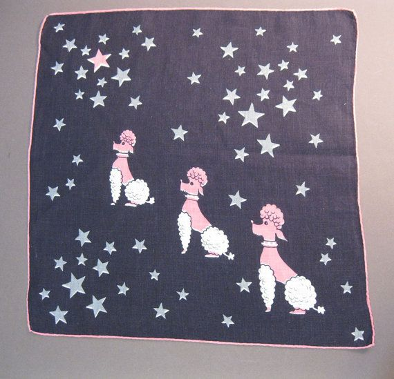 Vintage pink poodles in outer space