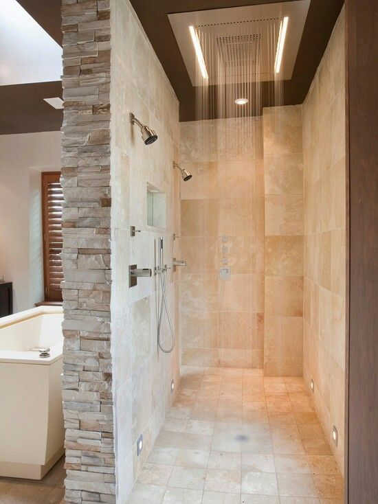 Walk through, stacked stone, waterfall... this would save so many fights over the shower head lol!