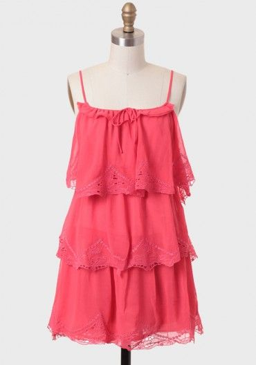 Sand Swept Tiered Dress In Coral | Modern Vintage Dresses | Modern Vintage Clothing