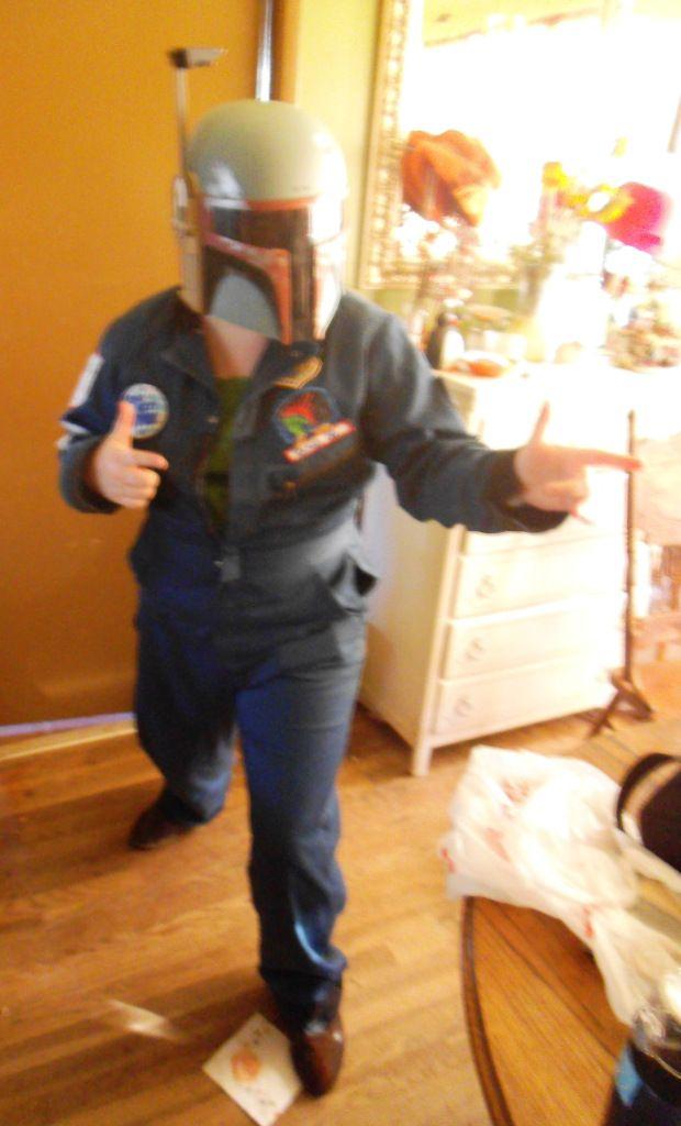 Starship Spoooork! Wearing Boba Fett Helmet.