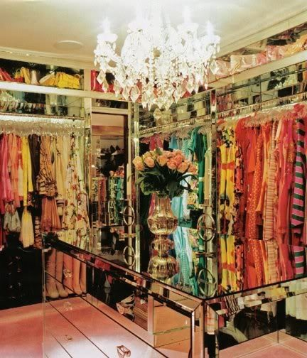 closet full of clothes.