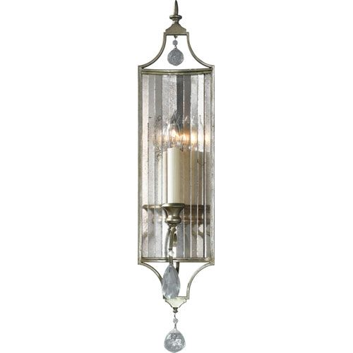 Gianna Gilded Silver Crystal Sconce Feiss 1 Light Armed ... on Silver Wall Sconces For Candles id=76521