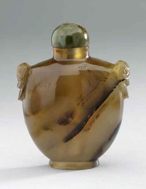 Carved agate snuff bottle 1750 - 1900 AD Qing Dynasty China; Asia