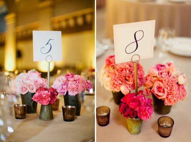 Sweet ombre centerpieces #ombrewedding #weddingdecor