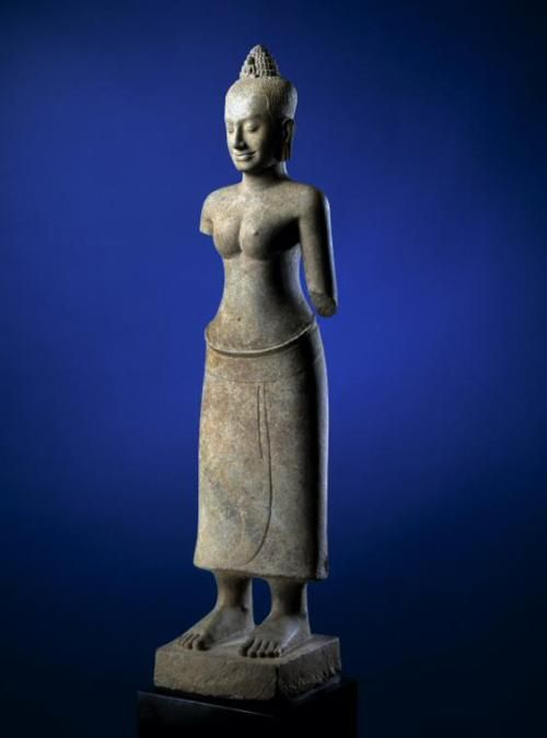 Goddess of Transcendent Wisdom, Prajnaparamita Cambodia, Angkor period, late 1100s – early 1200s. Sandstone, 59 inches (130 cm) high.