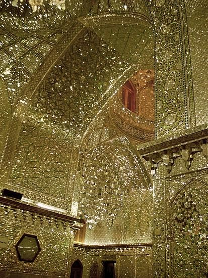 King of light Mauseleum - Shiraz, Iran. A gold mosaic of shattered mirror pieces.