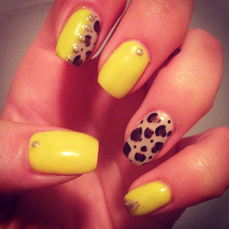 Neon, leopard and gold gel nails!