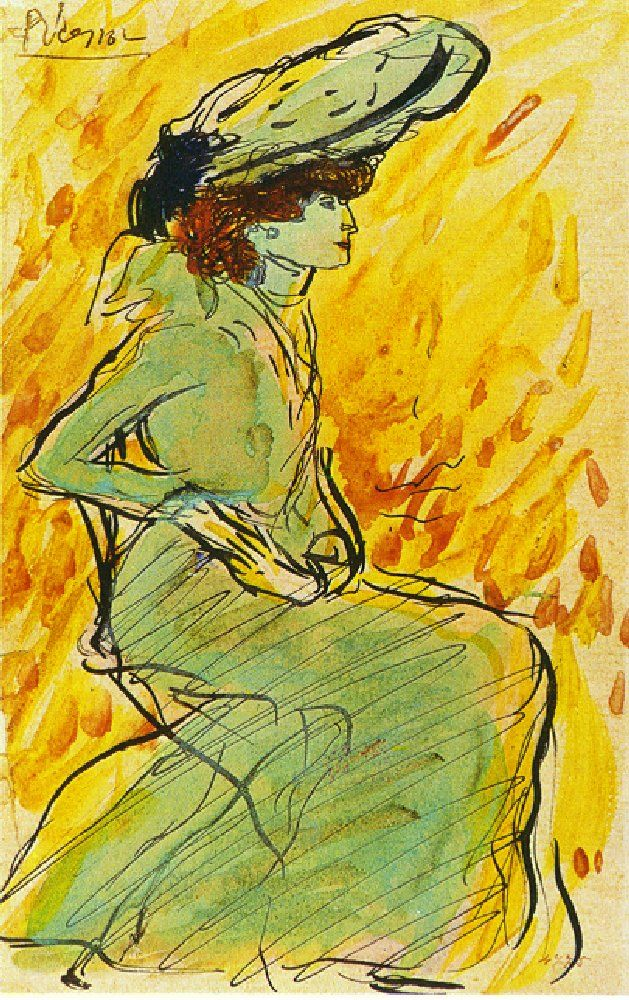 Seated woman in green -  Pablo Picasso 1901