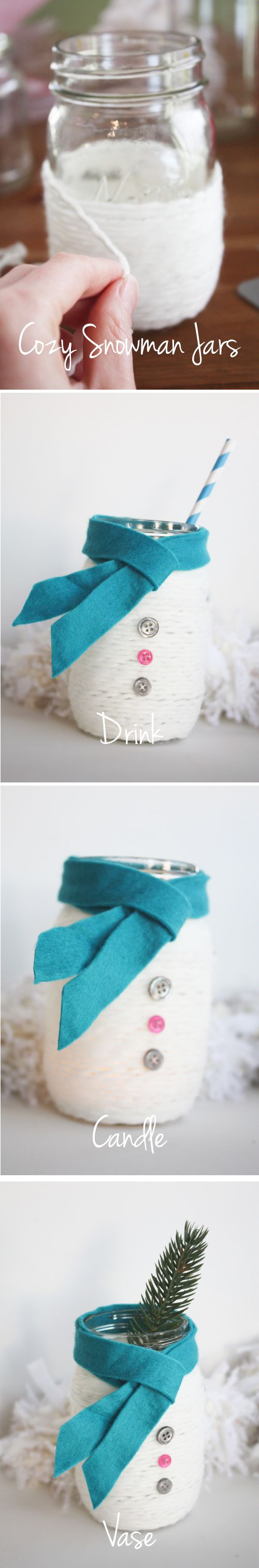ADORABLE! Cozy Snowman Mason Jars. I bet I can find tons of ways to use these...