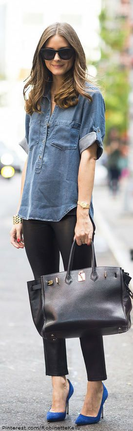 olivia palermo chic street style // love the denim paired with blue heels