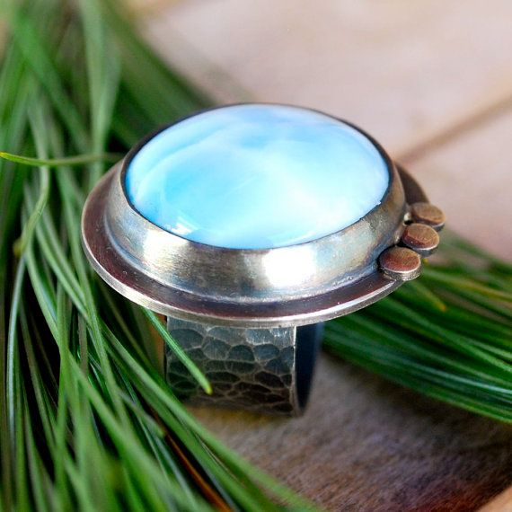 Handmade Larimar and Sterling Silver Ring by Kathryn Cole