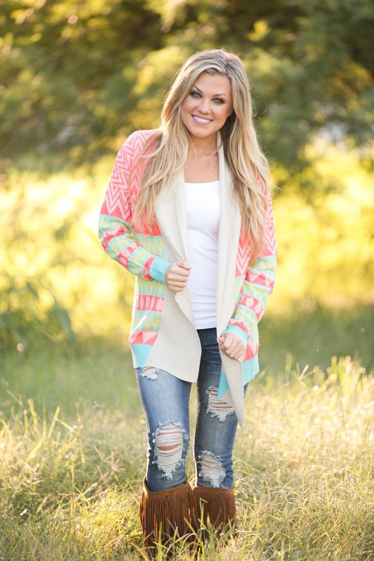 Lovely colorful cardigan and amusing camel boots. 10 fashion ideas for Fall 2014