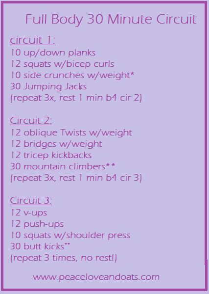 Full Body 30 Minute Circuit- up the weights