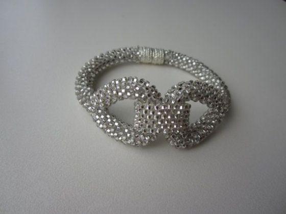 Sparkles Silver Bead Crochet Bracelet Seed Bead by garbanke, $35.00