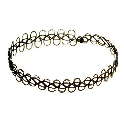 Jewellery of Lords Black Vintage Stretch Tattoo Henna Choker Hippy Necklace: Amazon.co.uk: Jewellery