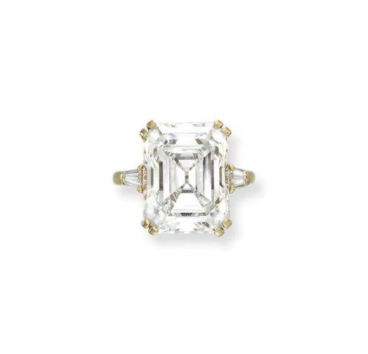 A rectangular-cut diamond weighing 16.99 carats,